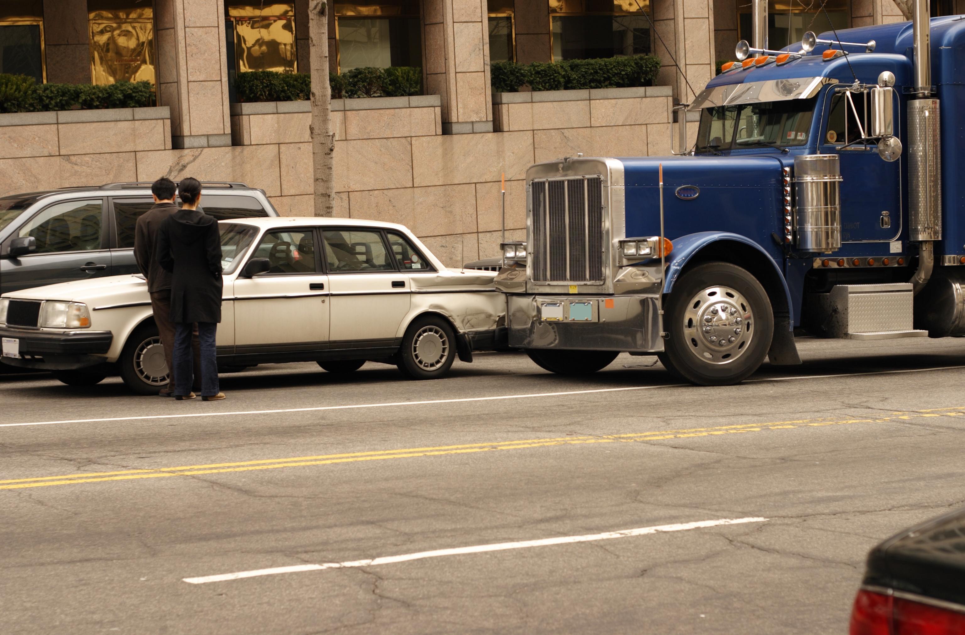 Semi truck crash with car