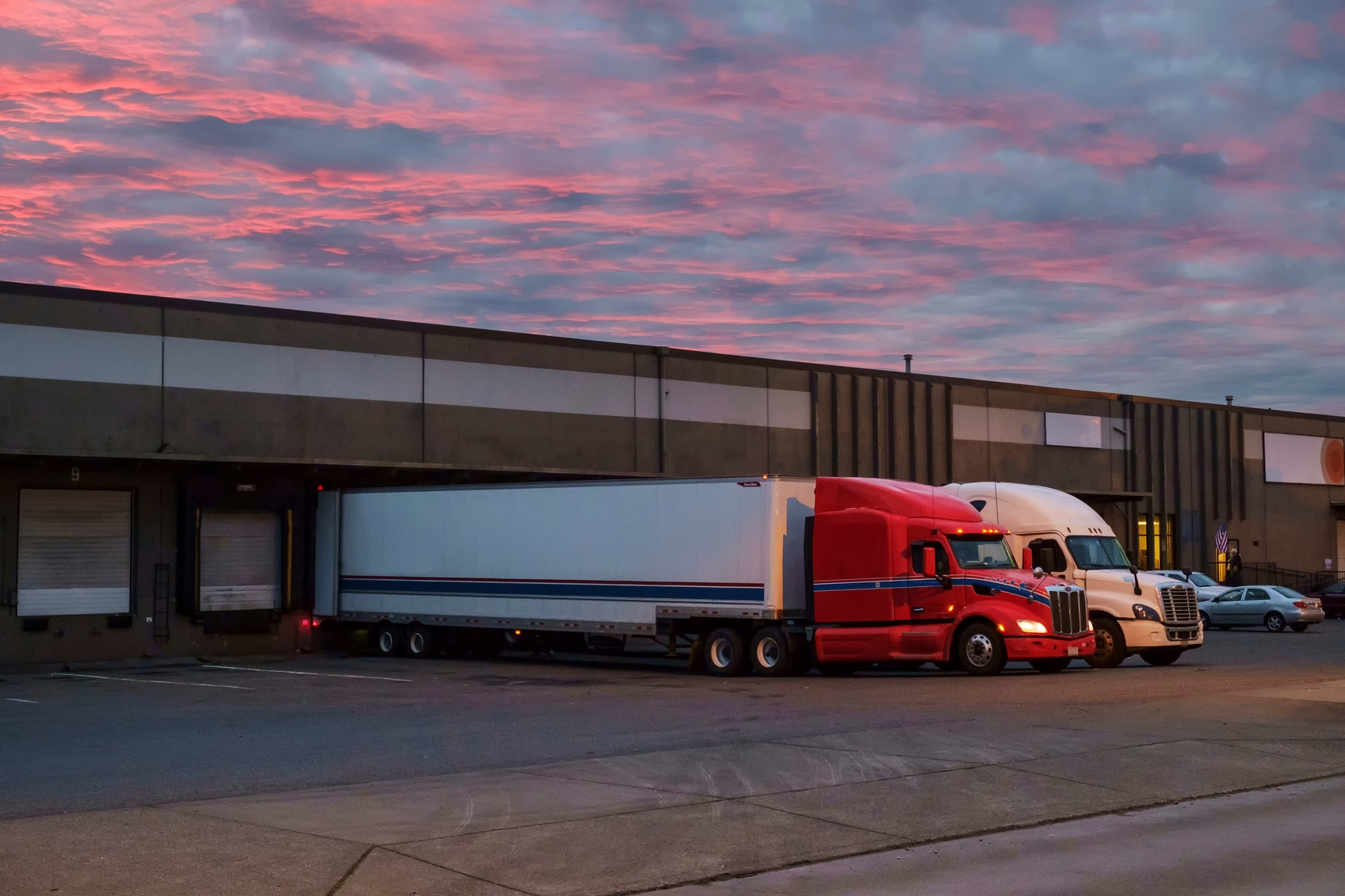 Docked semi trucks