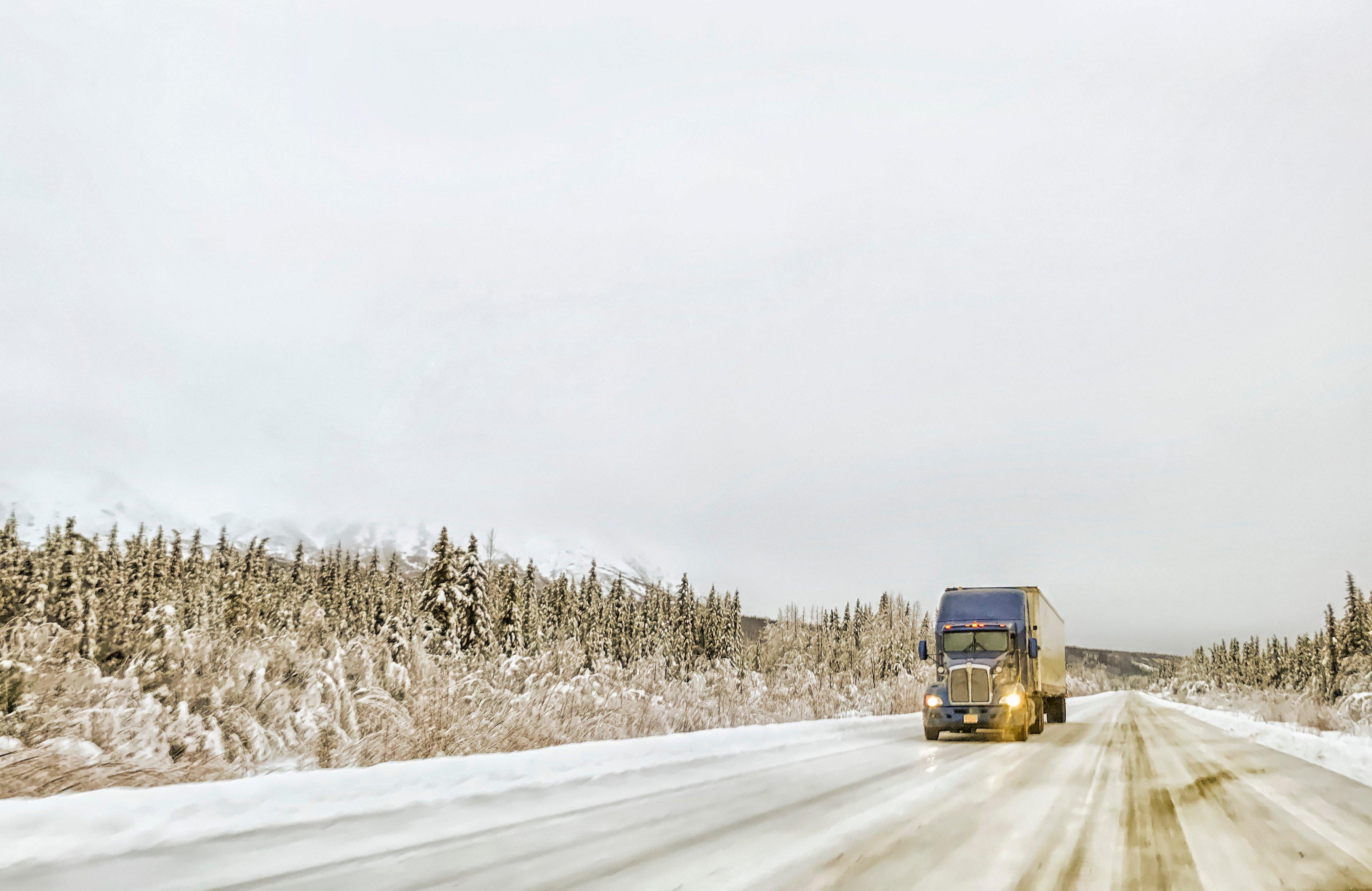 Semi Highway Winter Storm