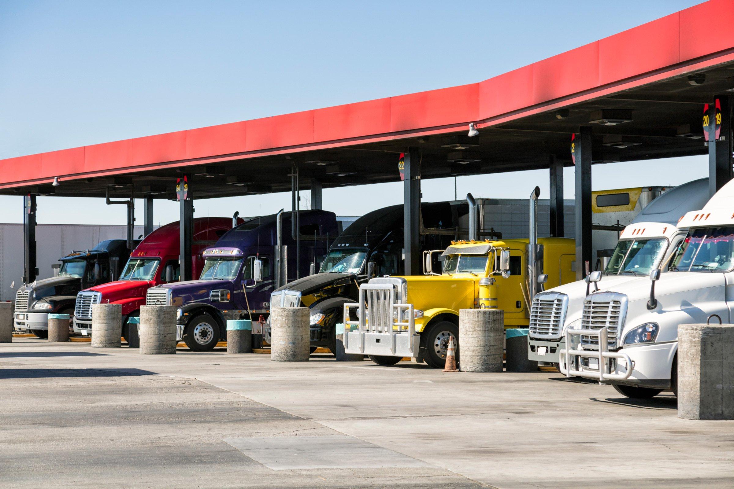 Trucks filling up at truck stop